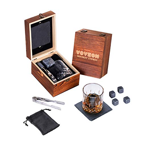 Whiskey Stones and Glass Gift Set, 4 Chilling Whiskey Stones + Whiskey Rock Glass + Slate Coasters for Whiskey, Scotch and Bourbon,Christmas/Birthday/Father's Day Gifts/Present for Men/Women