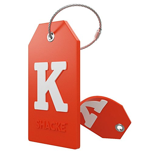Initial Luggage Tag with Full Privacy Cover and Stainless Steel Loop – (Letter K)