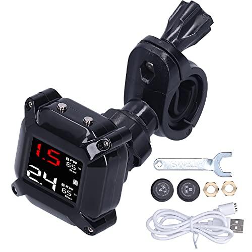 aqxreight Monitor de presión de neumáticos, Sistema de Control de presión de neumáticos de Motocicleta con sensores Carga magnética USB Universal