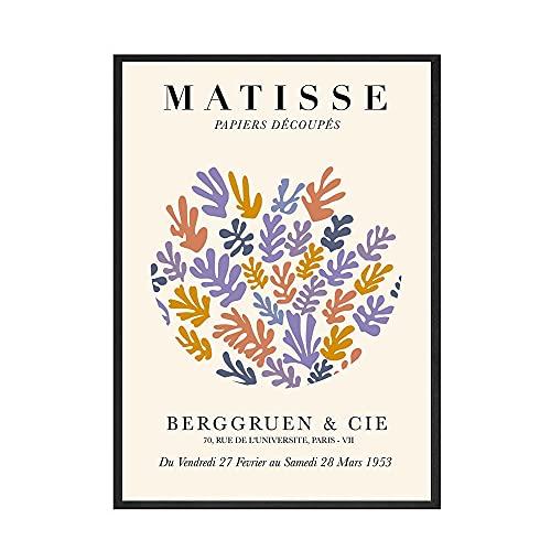 Exposición Hoja de Matisse Resumen Curva Arte de la pared Carteles e impresiones nórdicos Familia sin marco Lienzo Pintura A3 30x45cm
