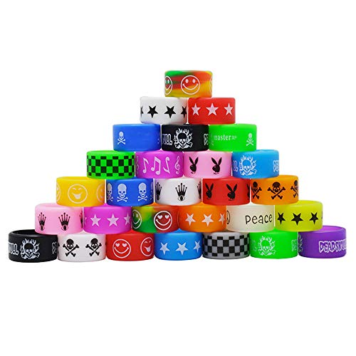 12 PCS Mixed Color Silicone Vape Anti Slip Rubber Rings, 22mm Mixed Rings, Random Design and Color with a Exquisite Transparent Box