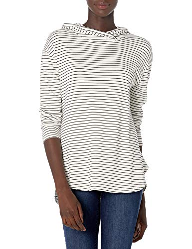 Amazon Brand - Daily Ritual Women's Supersoft Terry Long-Sleeve Hooded Pullover, White-Black Skinny Stripe,Large