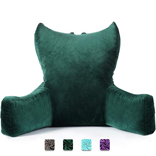 Neustern Reading Pillows with Enlarged Support Arms - Removable Backrest Cover with Pockets, Comfy Bed Rest Pillows for Bed Back Support (22 inches high) - Ideal for Adults/Teen/Kids (Green)