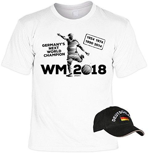 Veri 2-teiliges Fussball WM 2018 Deutschland T-Shirt Fanartikel Set World Champion 1954 1974 1990 2014 WM 2023 Bundesliga Fussballfan Trikot Weiss und Besticktes schwarzes EM WM Cap Gr. XXL : -