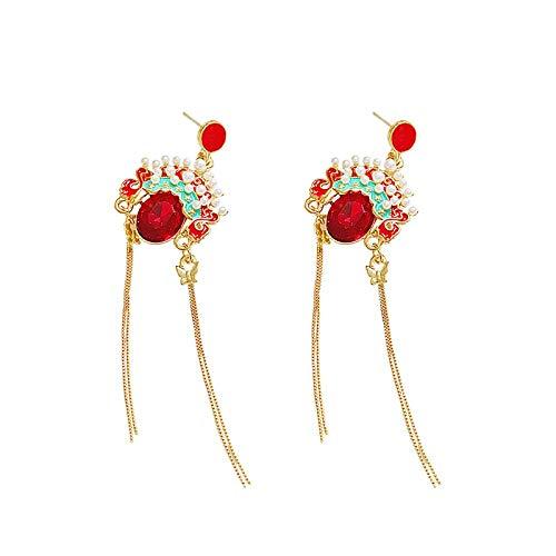 Chinese stijl oorbellen Peking Opera masker oorbellen vrouwelijke lange kwast retro drama temperament koude zilveren naald oorbellen oorbellen
