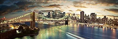 CHBOEN Peinture décorative Brooklyn Bridge Night Paysage Peintures à l'huile sur les affiches murales et la ville de New York imprimée sur une chambre à coucher de toile Decor Pictures