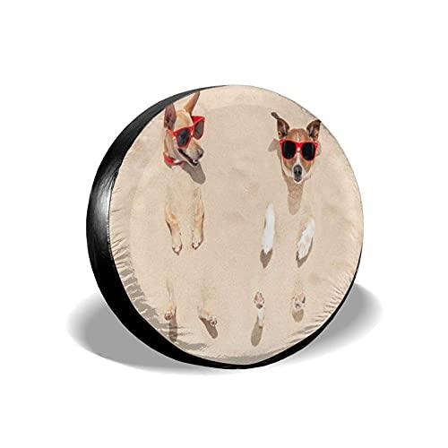 Lewiuzr Jack Russell Dog Enterrado en la Arena Poliéster Potable Cubierta de llanta de Rueda de Repuesto Cubiertas de Rueda Ajuste Universal