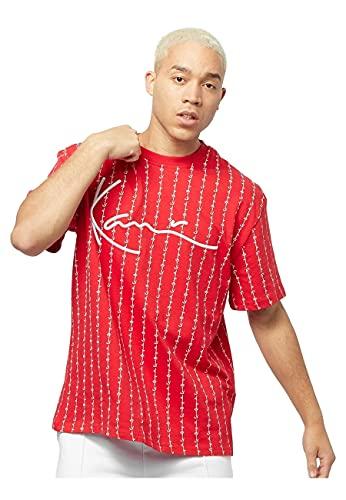 Karl Kani Herren T-Shirt Signature Logo Pinstripe red/White (S)