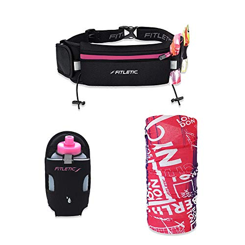 Fitletic Ultimate Phone Running Belt Bundle Face Scarf & 8oz Pink Cap Water Bottle Gift Pack, Fits iPhone 11 Pro Max & Plus Series, Galaxy S10 Plus, Fanny Pack, Cycling, Jogging, Fitness, or Travel