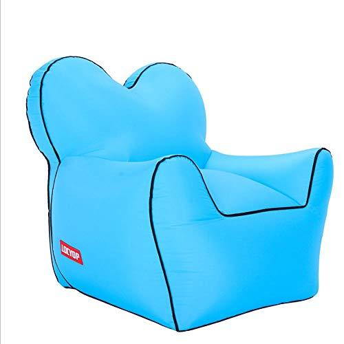 Lazy aufblasbares Sofa Nylon reißfestes Material tragbares Luftbett im Freien-Blau_M.