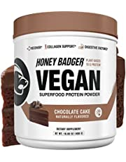 Honey Badger Natural Vegan Keto Pea Protein + Collagen Support | Chocolate Cake | Gluten Free Paleo + Amino Acids BCAA Digestive Enzymes | Hydrolyzed 20g Pea Protein Non GMO Vitamin C | 30 Servings