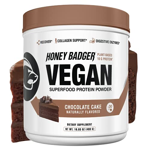 Honey Badger Natural Vegan Keto Collagen Pea Protein Powder   Chocolate Cake   Gluten Free Paleo + Amino Acids BCAA Digestive Enzymes   Hydrolyzed 10g Pea Protein Non GMO Supplement   30 Servings