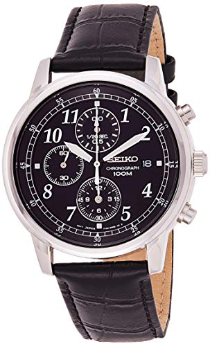 Seiko Men's SNDC33 Classic Black Leather Black Chronograph Dial Watch