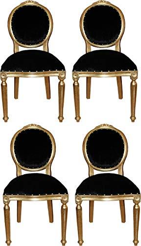 Casa Padrino Conjunto de Sillas de Comedor Barroco Medallón Negro/Oro 50 x 52 x H. 99 cm - 4 Sillas de Comedor Hechas a Mano - Muebles de Comedor Barrocos