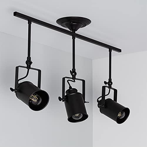 LEDKIA LIGHTING Lámpara de Techo Kijiko 3 Focos 160x430x700 mm Negro E27 Casquillo Gordo Metal Decoración Salón, Habitación, Dormitorio