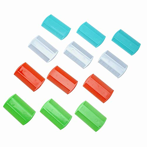 BinaryABC Plastic Flea Lice Combs, Double Sided Comb,Fine Tooth Head Lice Flea Hair Combs for Styling Tools 12pcs