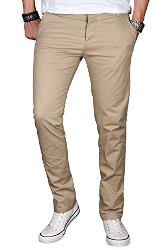 A. Salvarini Herren Designer Chino Stretch Stoff Hose Chinohose Regular Slim mit Elasthananteil AS024 [AS-024-Taupe-W38 L32]