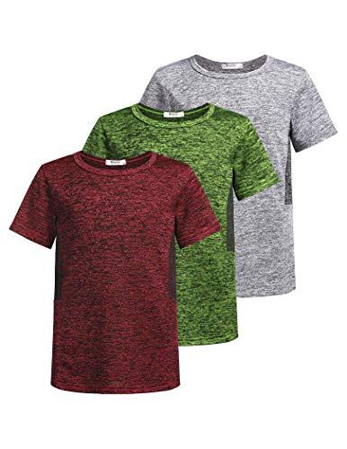 Boyoo Camiseta de gimnasio de manga corta para niño, 3 unidades, transpirable, de secado rápido, monocolor, con cuello redondo Rojo/Gris/Verde XL
