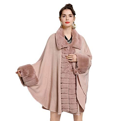 Capa de pelo sintético para mujer, capa de punto de cachemira, gran tamaño, para invierno Rosa. Tallaúnica