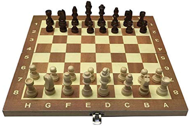 tienda en linea DEH Tablero de ajedrez de Madera de 29 29 29 cm Juego de ajedrez de Tablero Plegable Juego de ajedrez Internacional Diverdeido - Color Madera  forma única