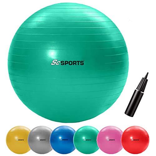 ScSPORTS Gymnastikball, Sitzball zur Entlastung der Wirbelsäule, als Yogaball geeignet, Ø 65 cm, Grün