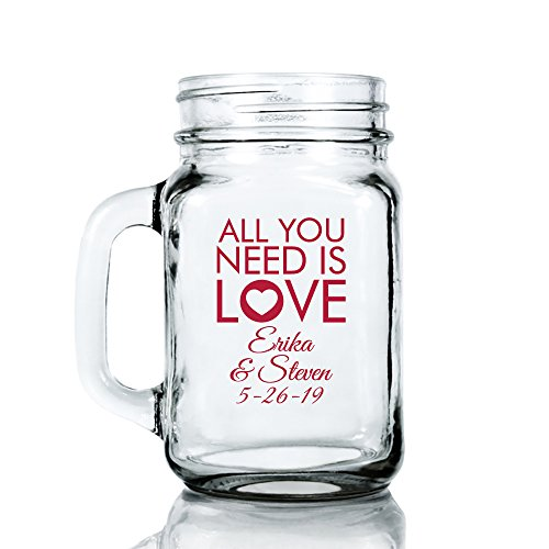 Personalized Color Printed 16-ounce Mason Mug - All You Need Is Love - Red - 144 pack