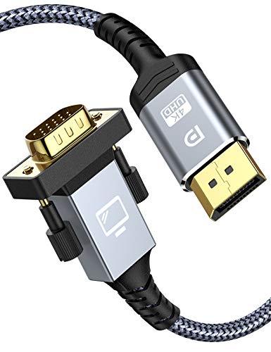 Displayport auf VGA Kabel 1.8M,1080P DP auf VGA Adapter Nylon Braided Unidirektional Standard-DP-Stecker-auf-VGA-Stecker-Kabel Kompatibel mit PC Desktop,Laptop,Monitor,Projektor,Fernseher und mehr