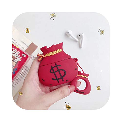 For AirPods Case Cute Flower Shell Suitcase Earphone Case For Apple Airpods 2 Luxury Protect Cover with Finger Ring Strap-Red Luck Bag