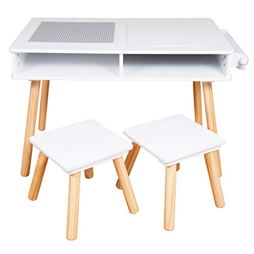 Elk and Friends Kids/Toddler Multi Activity Table with 2 Chairs | Building Blocks Desk/Table with Storage | Craft Play Table Plus Paper Roll |Sensory Table
