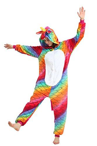 Missley Einhorn Fischschuppen Cosplay Pyjamas Unisex Flanell Tier Neuheit Pyjamas Nachtwäsche Kostüme Halloween
