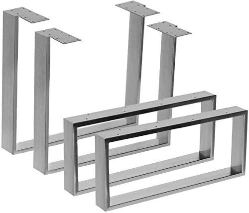 CPI Marco de Mesa 2X Fabricado en Acero Inoxidable en 2 Superficies de Alto Brillo y Cepillado en 10 Variantes a Elegir (80x70cm, Cepillado), Cepillado, 80x70cm