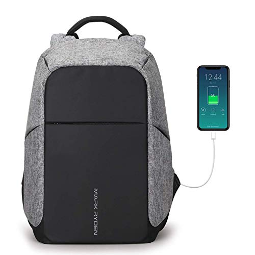 Anti-Theft Backpack, Mark Ryden Business Bag with USB Charging Port, can accommodate Most Male/Female Waterproof Large Compartment School Travel Bags, Suitable for 15.6-inch laptops
