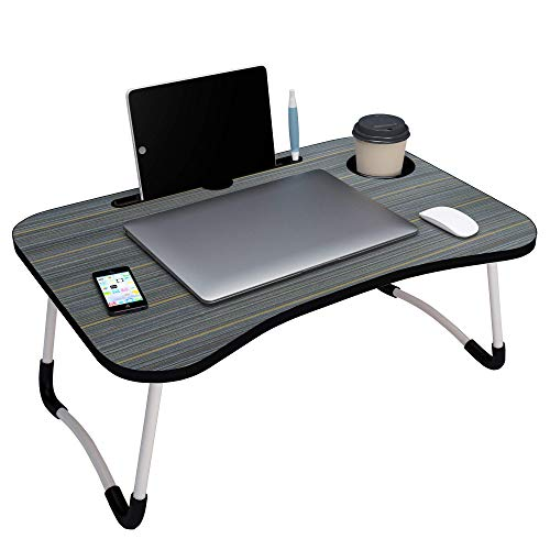 GROSSē Laptop Bed Table Lap Standing Desk for Bed and Sofa Breakfast Bed Tray Laptop Lap Desk Folding Coffee Tray Notebook Stand Reading Holder for Couch Floor Kids(60 x 40 cm) (Black)