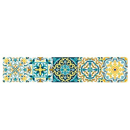 Pegatinas de azulejos de impresión tira impermeable pegatinas de pared DIY autoadhesivo extraíble retro cuadrados pegatinas para decoración de muebles de cocina baño 20x100cmX1 unids