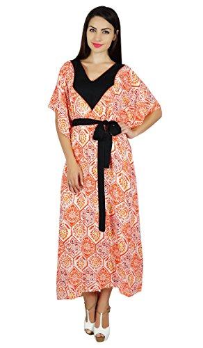 Bimba Les à Long Coton Caftan Kimono Caftan Camouflage avec Ceinture Contraste