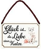 schilderkreis24 Targa in metallo con scritta divertente 'Glückig ist Liebe Katze' in stile vintage, idea regalo, regalo divertente di compleanno, Natale per tutti i fan dei gatti, 18 x 12 cm