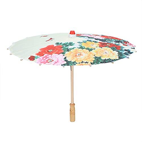 Oure Regenschirm basteln, liebevoll gestaltete Details Zarte Blumenmuster Foto Requisiten Regenschirm für Fotoshootings für Kostümdramen für Bühnenshows(01, S, Blau)