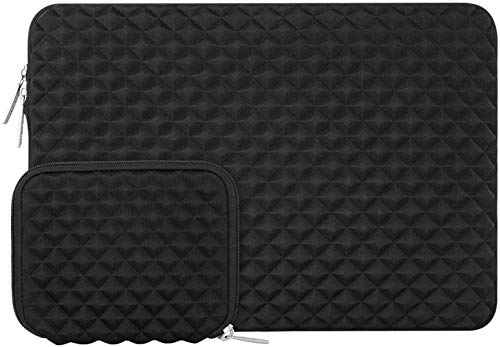 MOSISO Laptop Sleeve Compatible with MacBook Air 13 A2337 M1 A2179 A1932, 13 inch MacBook Pro A2338 M1 A2289 A2251 A2159 A1989 A1706 A1708, Diamond Foam Neoprene Bag Cover with Small Case, Black