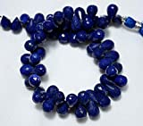 LOVEKUSH LKBEADS Lapislázuli lázuli gotas de lágrima, lázuli corte facetado, piedras preciosas para taladro lateral para joyas, 7 x 10 mm aproximadamente, 22 cm Código de hebra HIGH-31135