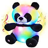 Bstaofy Musical LED Panda Stuffed Animal Glow Soft Plush Toys Light up in Dark Singing Bedtime Companion Birthday Gift for Kids on Christmas Festival Occasions, 11.5 inch (Musical & Glow)