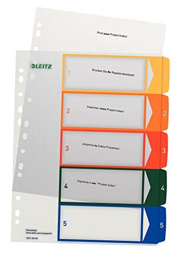 Leitz Register für A4, PC-beschriftbares Deckblatt und 5 Trennblätter, Taben mit Zahlenaufdruck 1-5, Überbreite, Weiß/Mehrfarbig, Polypropylen, 12910000