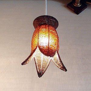 バリウッド・アジアンランプ・バリ照明:お馴染みパックリ型ビーズいっぱいペンダントランプ!ブラウン