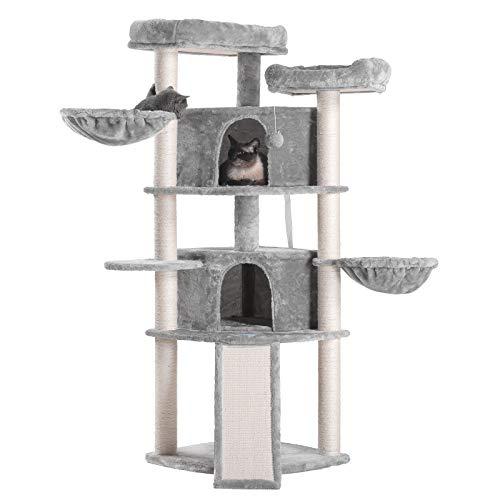Hey-brother 132cm Kratzbaum Katzenbaum, Katzenmöbel mit Sisal-Kratzbäumen, Katzenkratzbaum mit 2 Katzenhöhlen 2 Aussichtsplattformen und 2 Korb, Hellgrau MPJ031W