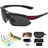 arteesol fahrradbrille UV400 Schutz mit 5 Wechselgläsern, Sportbrille, Rennrad Brille, Radbrille,...