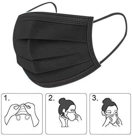 SYMTEX 100 Stück Mundschutzmasken Masken 3-lagig Mundschutz Gesichtsmaske Einwegmaske mund und nasenschutz (Schwarz)
