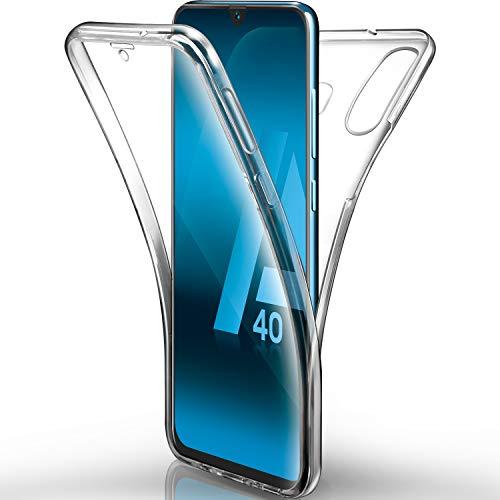 AROYI Funda Samsung Galaxy A40 Transparente,Silicona Doble Cara Carcasa 360°Full Body Protección,Anti-Arañazos Suave Case para Samsung A40