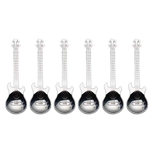 Guitar Coffee Spoons 6Park Creative Cute Spoons 18/10 Stainless Steel Teaspoons Guitar Shaped by IRONXsilver