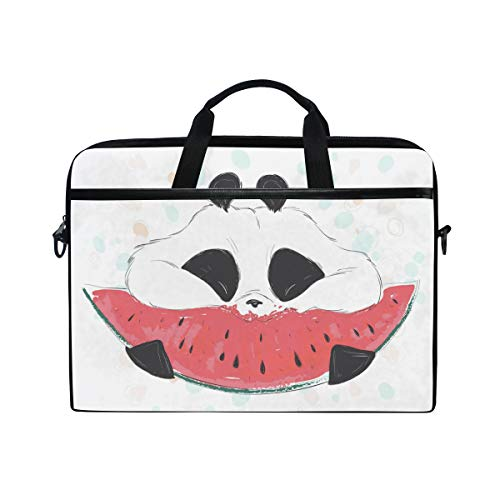 Laptop Case, Panda Eating a Watermelon Printed with 3 Compartment Shoulder Strap Handle Canvas Notebook Computer Bag Personalised Perfect for Boys Girls Women Men 13 13.3 14 15 inch