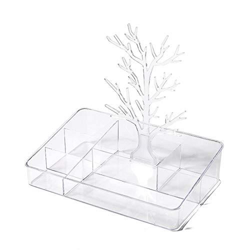 Caja de visualización transparente Caja de joyería de diseño única caja de almacenamiento para pendientes Anillos Collares Pulseras Pendientes Regalo con marco de árbol y cajones de almacenamiento par