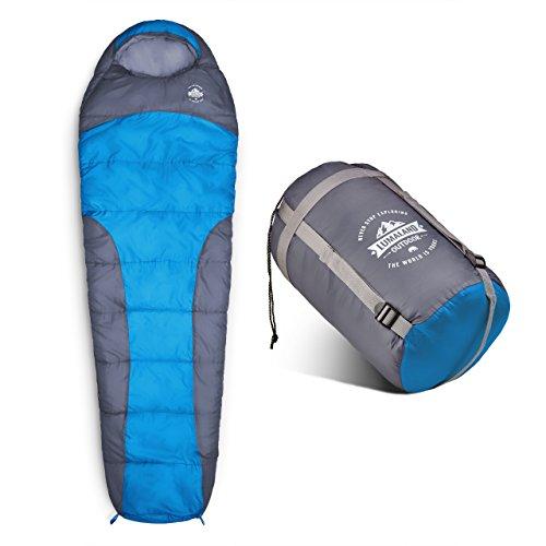 Where Tomorrow Schlafsack Mumienschlafsack 230 x 80 cm - inklusive Packsack - 50 x 25 cm gepackt -für Outdoor Camping, Wandern, Backpacking - Blau